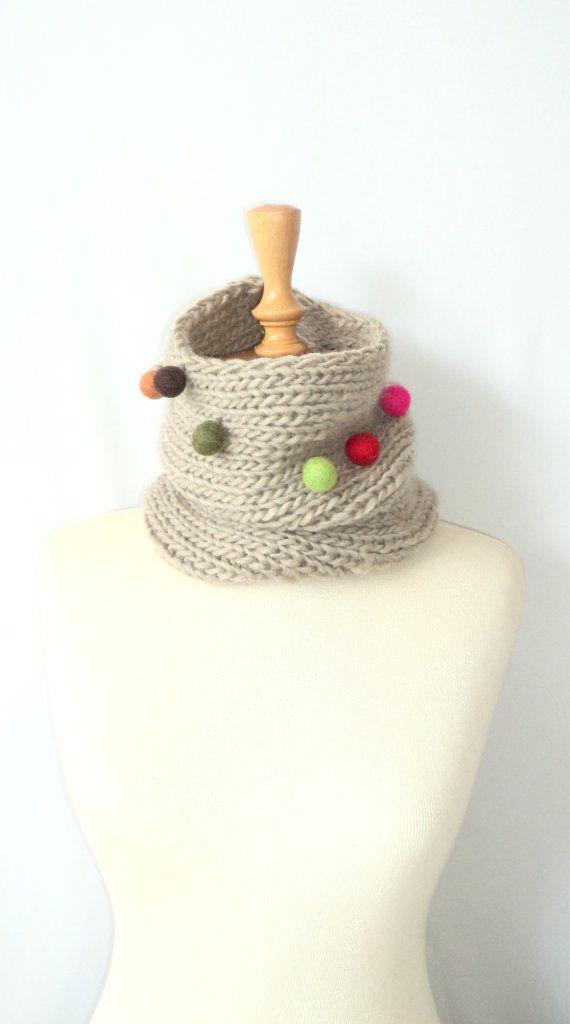 Felted Pom-Pom Scarf ,Handmade Scarf ,Knitting Scarf ,Colors Scarf ...