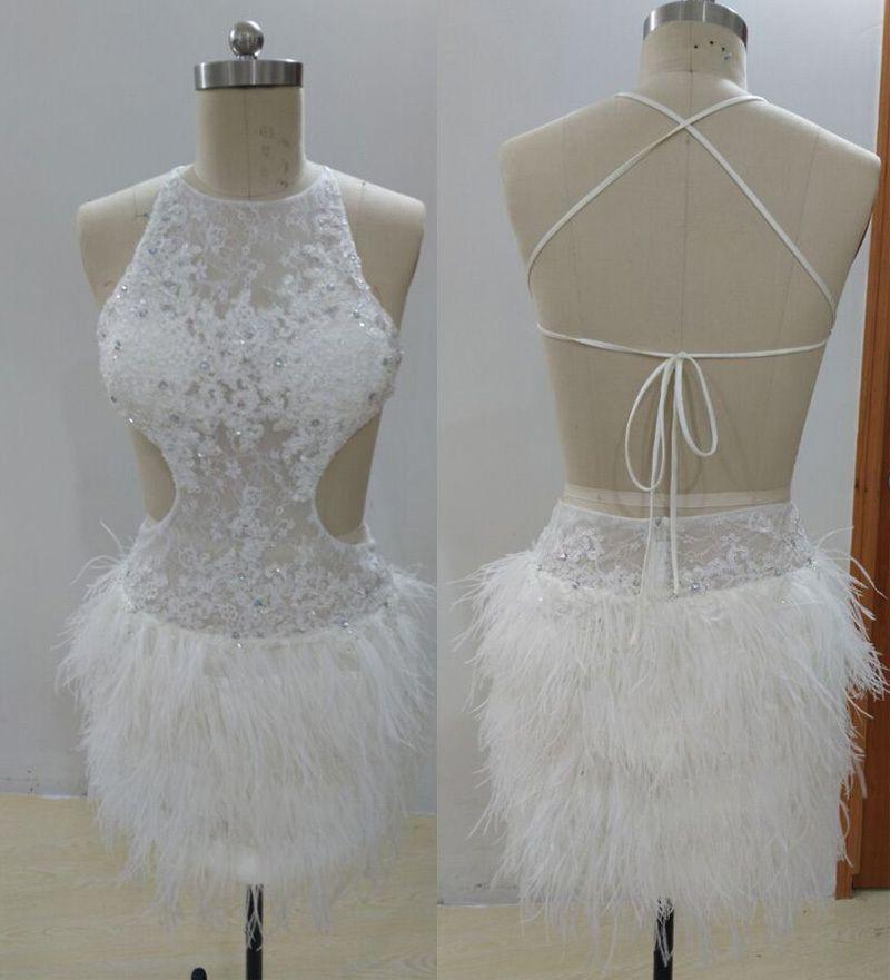 Real Photo Sexy Top Qualität Neckholder Backless Feder Mini Robe De ...