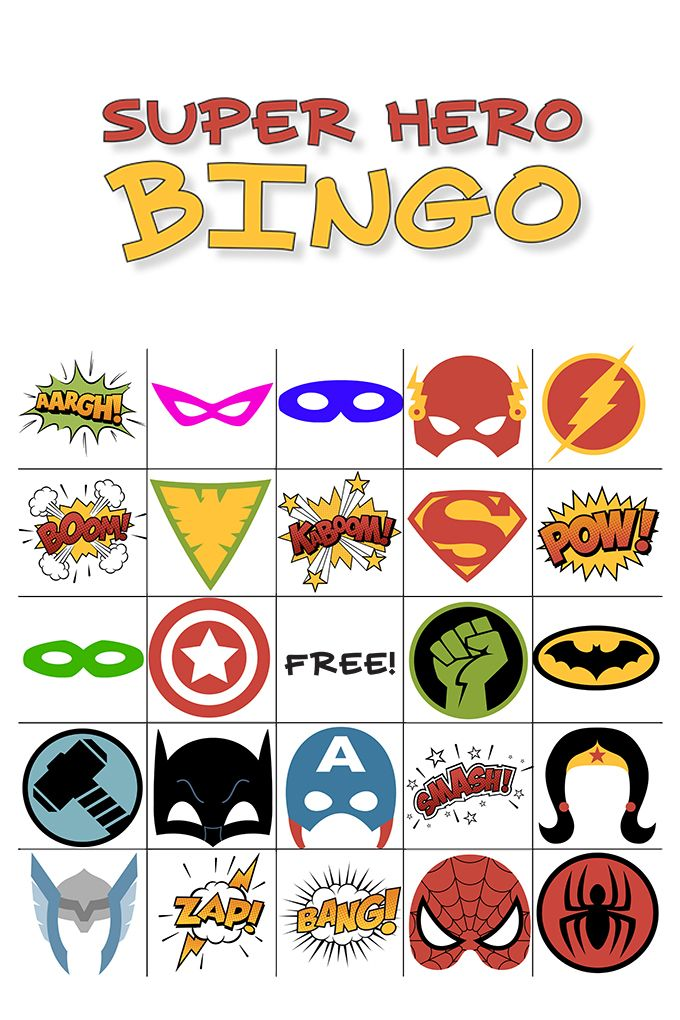 Free Printable Super Hero BINGO Party | Fireflies, Superhero and ...