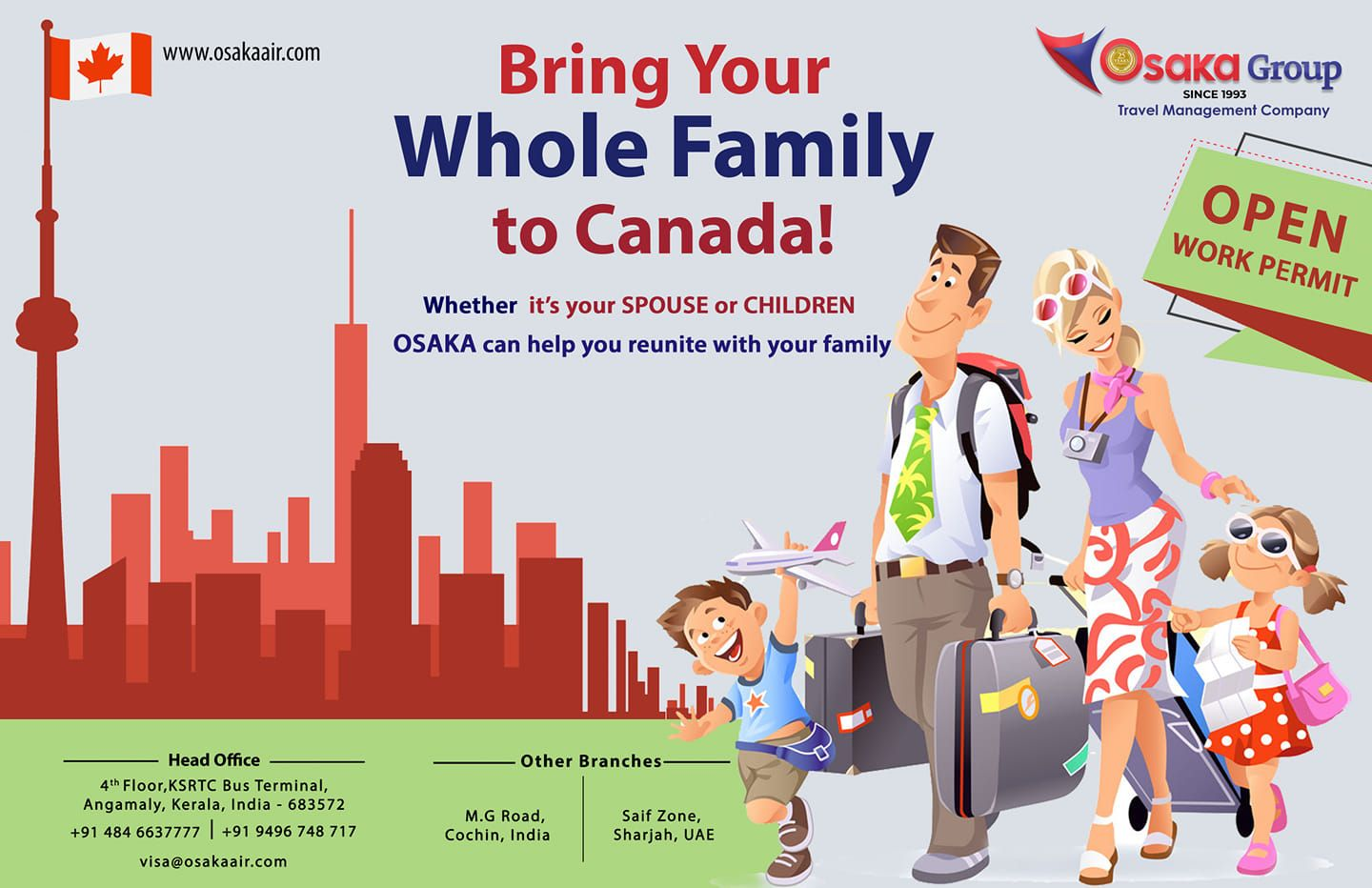 Discover the attractions of CANADA with OSAKA For Visa
