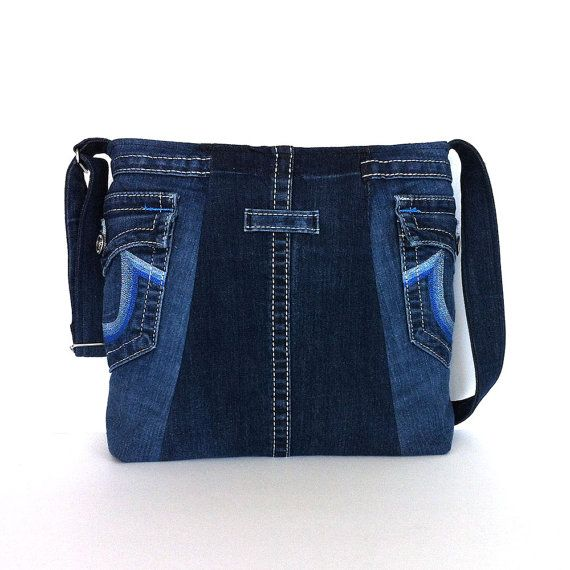 Denim messenger bag , blue jean cross body bag , recycled clothing tote bag , Ec…