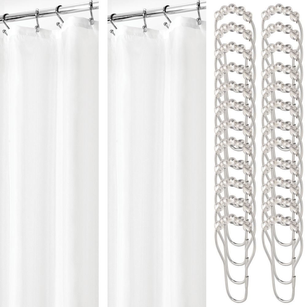 X Wide Fabric Shower Curtain Liner Rings 108 X 72 White In