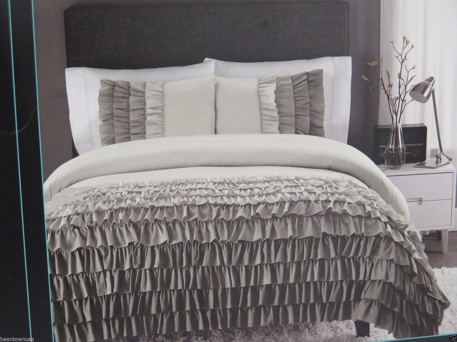 Cynthia Rowley Gray Ombre Ruffled Comforter Sham Set Twin Twin XL 2 PC | eBay