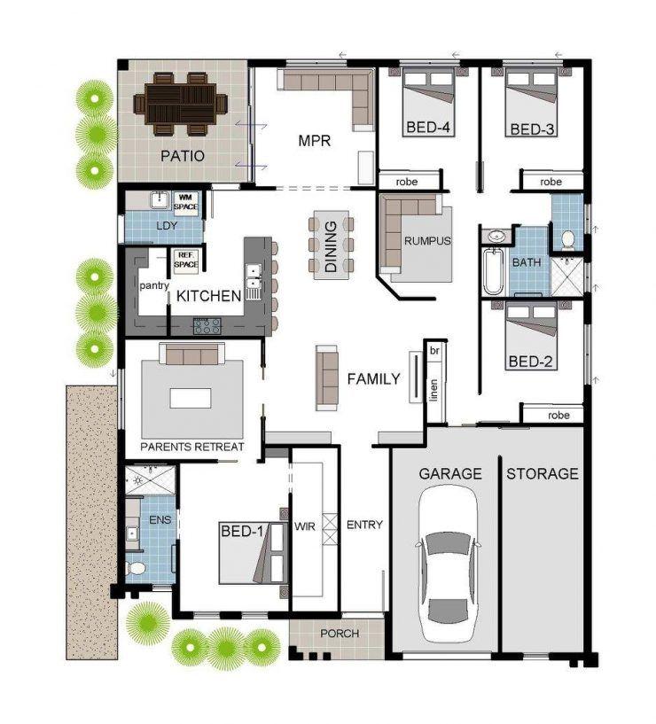 Floor plan 4 bedroom theatre lounge rumpus room for House plans with butlers pantry australia