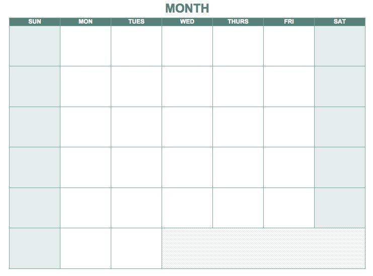 Free Blank Calendar Templates - Smartsheet | Organize | Pinterest
