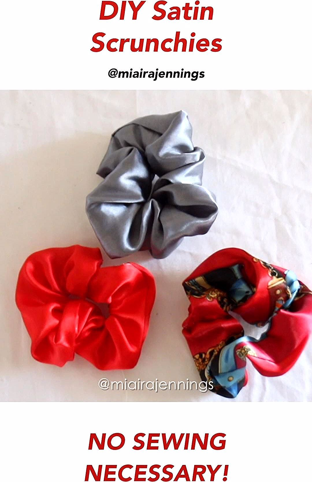 Here's how to easily make your own satin scrunchies in just a few minutes with no sewing!   #diy #scrunchie #scrunchies #nosew #satin #naturalhair #naturalhairstyles #hair #hairaccessories #haircare #curlyhair #kinkyhair