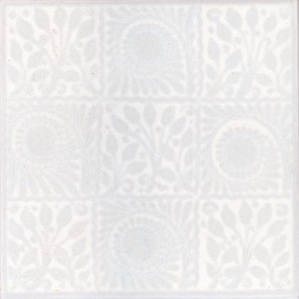 V and A William De Morgan White Squares Tiles - 152 x 152mm