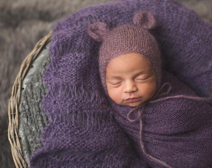 Purple mohair bear bonnet for newborn photo prop