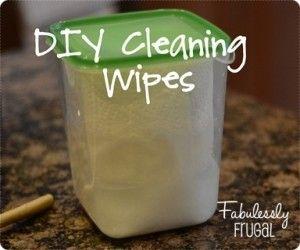 DIY Cleaning Wipes.  Cut in half roll of paper towels plus vinegar, water, dish soap & essential oil.