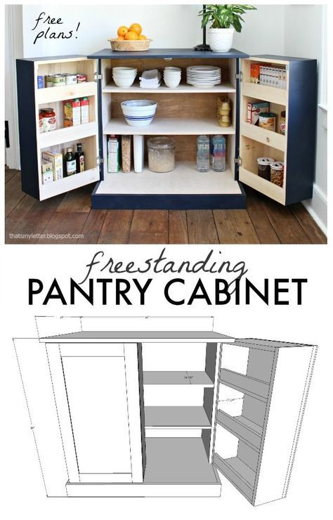 Freestanding pantry cabinet free plans also the dwelling pinterest