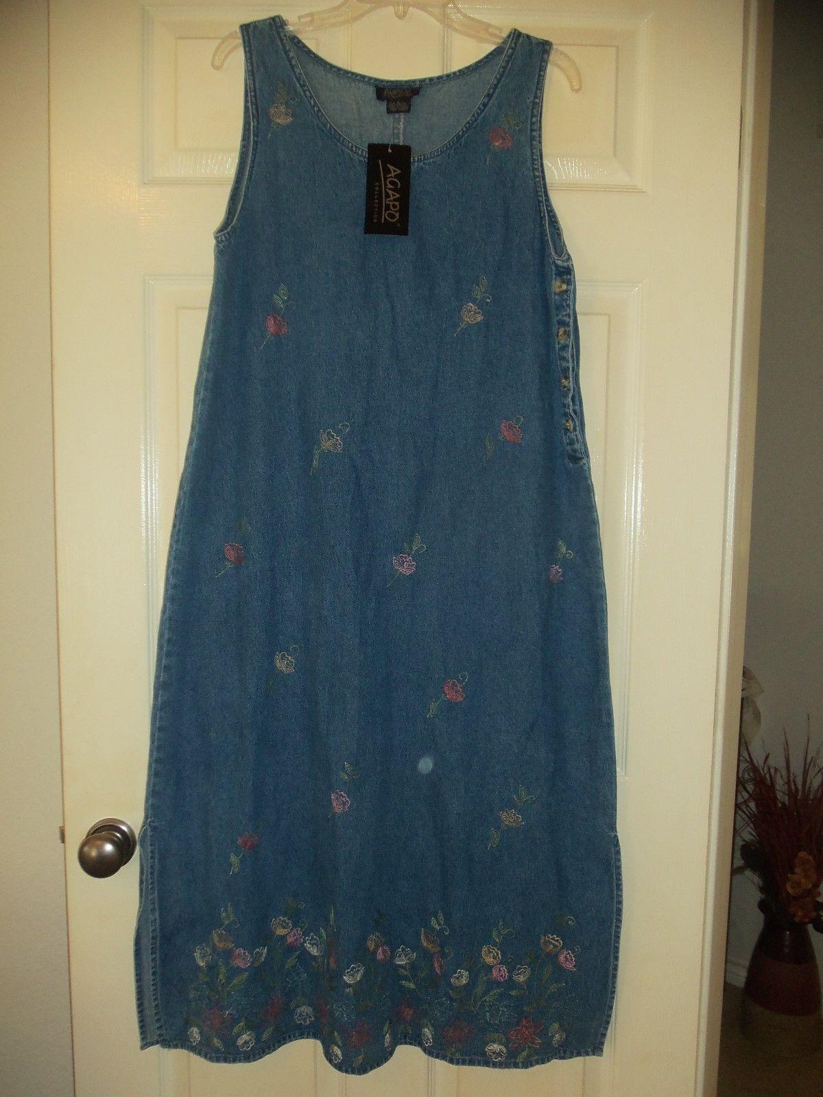 Long Denim Jean Jumper Dress Sz Large Embroidered NEW