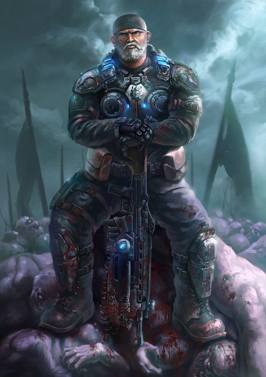 Gears Of War By Juwoong J On Artstation Gears Of War War Fan Gear Art
