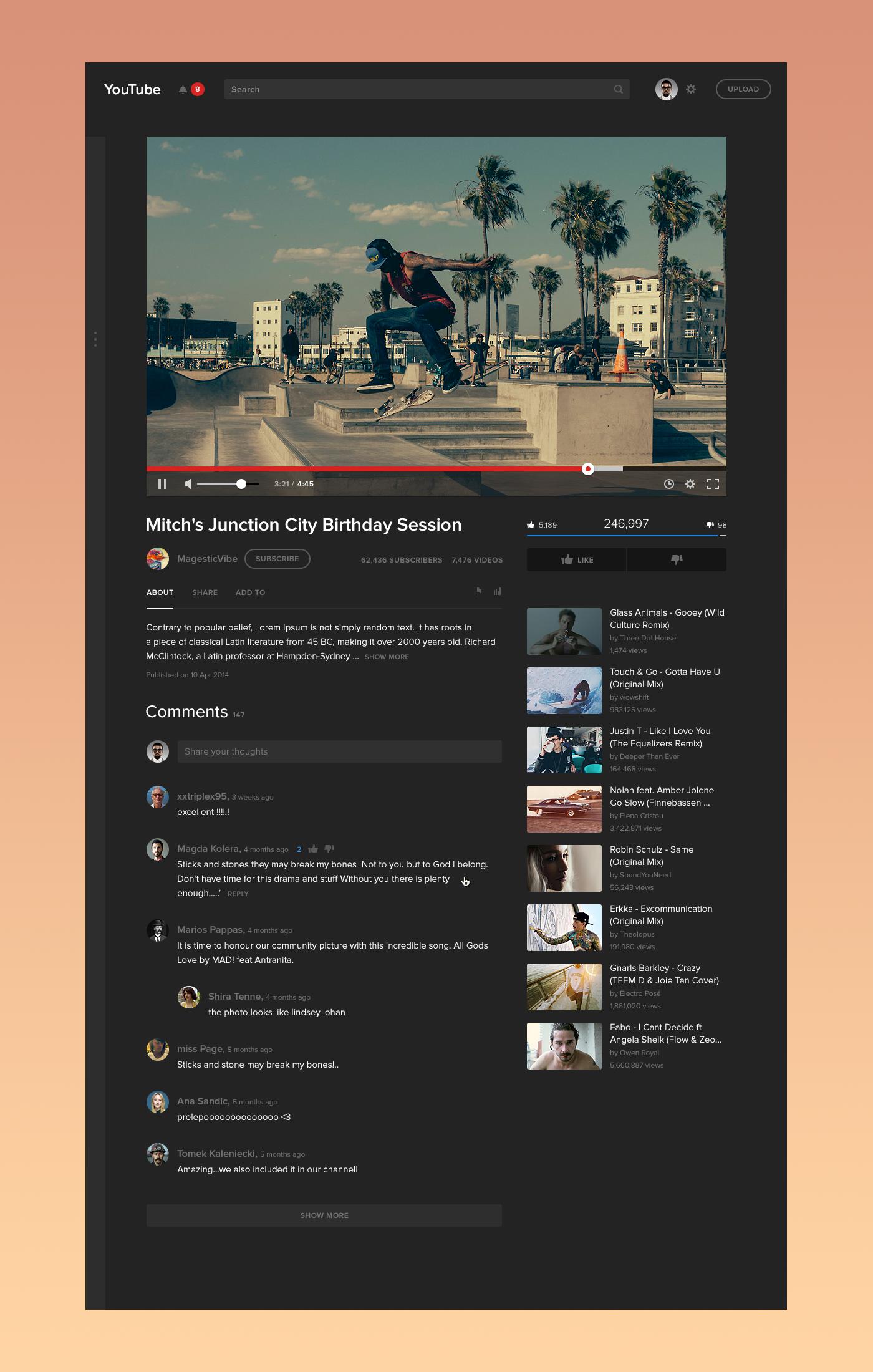 Dribbble Videopage Fullsize Png By Dmitry Samarenkov Best Web Design Youtube Design Fun Website Design