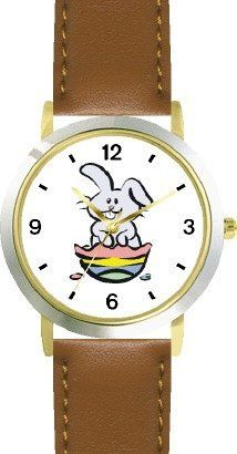 Bunny Hatching out of Easter Egg Easter Theme - WATCHBUDDY® DELUXE TWO-TONE THEME WATCH - Arabic Numbers - Brown Leather Strap-Children's Size-Small ( Boy's Size & Girl's Size ) WatchBuddy. $49.95