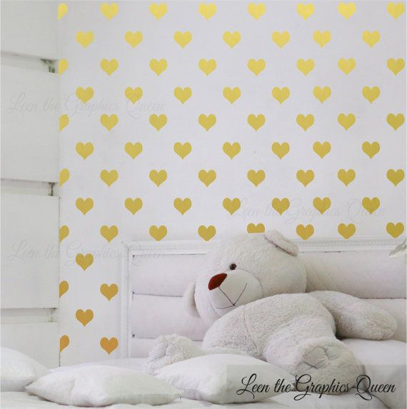 Hey, I found this really awesome Etsy listing at https://www.etsy.com/listing/217002611/gold-heart-shaped-wall-decals-set-of-200