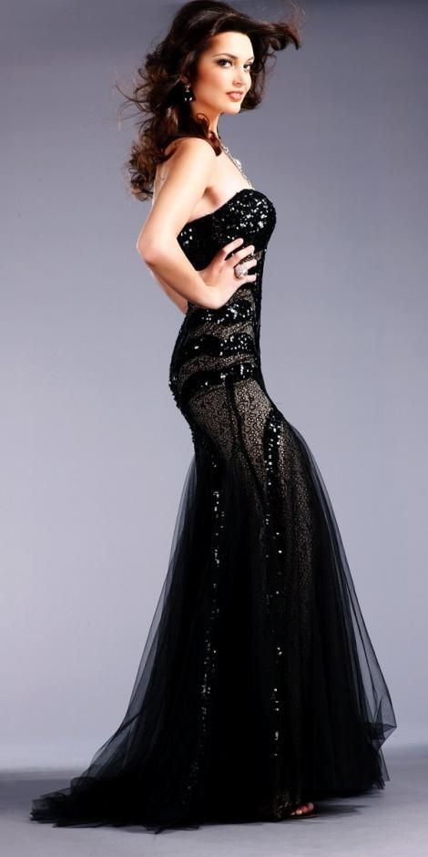 JOVANI 153050 Black Nude Strapless Sequin Evening Gown Prom Dress 0 ...