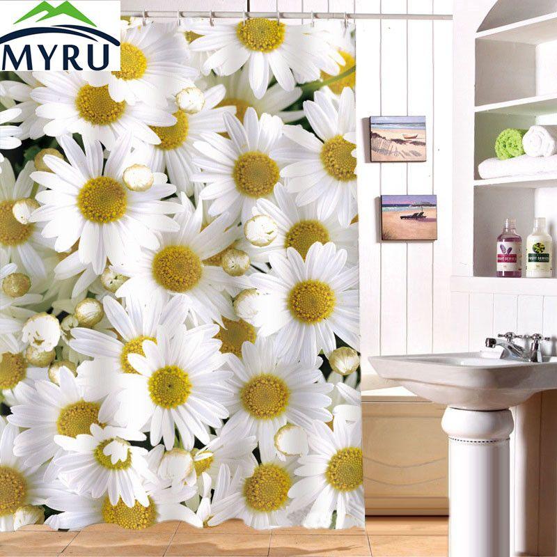 MYRU 180x180cm shower curtain waterproof curtians 3D Daisy digital ...