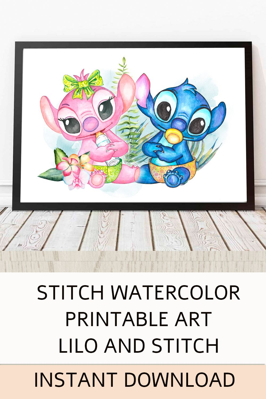 Stitch Watercolor Printable Art Lilo And Stitch Instant Download Lilo Stitch Disney Print Party Decor Nursery Room Wall Lilo And Stitch Baby Party Themes Stitch Disney