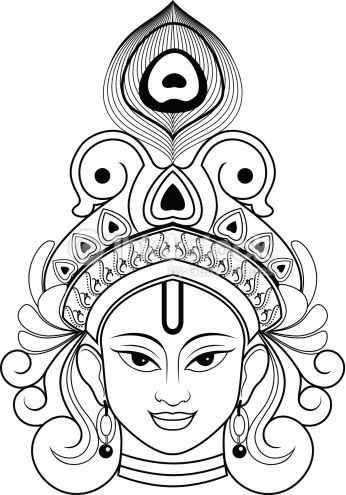 Beautiful Outline Drawing Indian Lord Krishna He Was The Founder Of