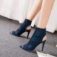 cb1435e6882 Sexy Peep toe ankle High elastic High heels fashion denim boots . – Funky  Fun Style