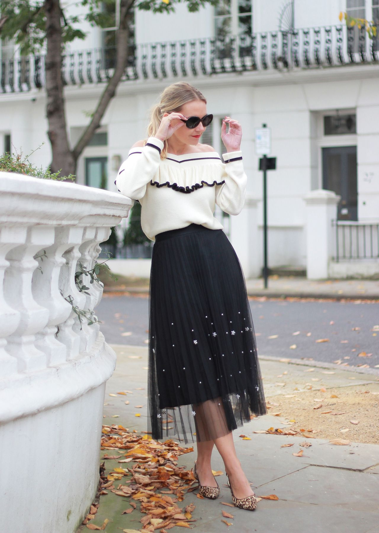 0964f7eb25 The Steele Maiden: Black and White Holiday Style - Anthropologie Pearl  Tulle Skirt and Off the Shoulder Sweater