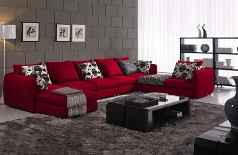 Red Sectional Gray Black Accents Very Modern Looking Healthy