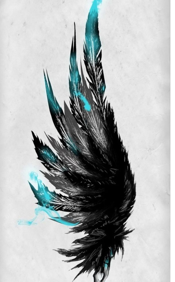 black and blue wing tattoo tattoos feather tattoos. Black Bedroom Furniture Sets. Home Design Ideas
