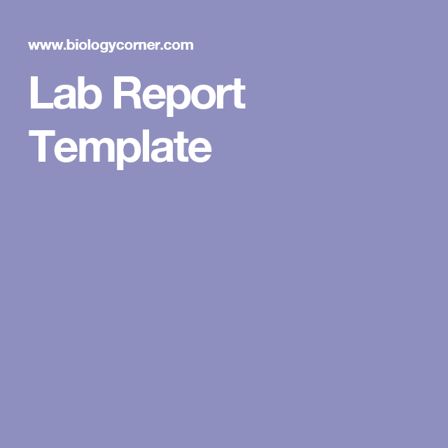 Lab Report Template  Classroom Kiddos    Labs