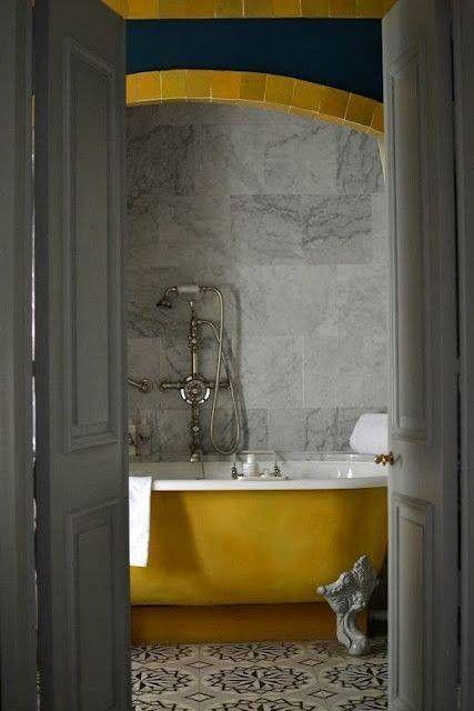 Ochre Color Decor Bathtub, Concrete Gray Bathroom, Gray And Ochre, Mustard  Yellow
