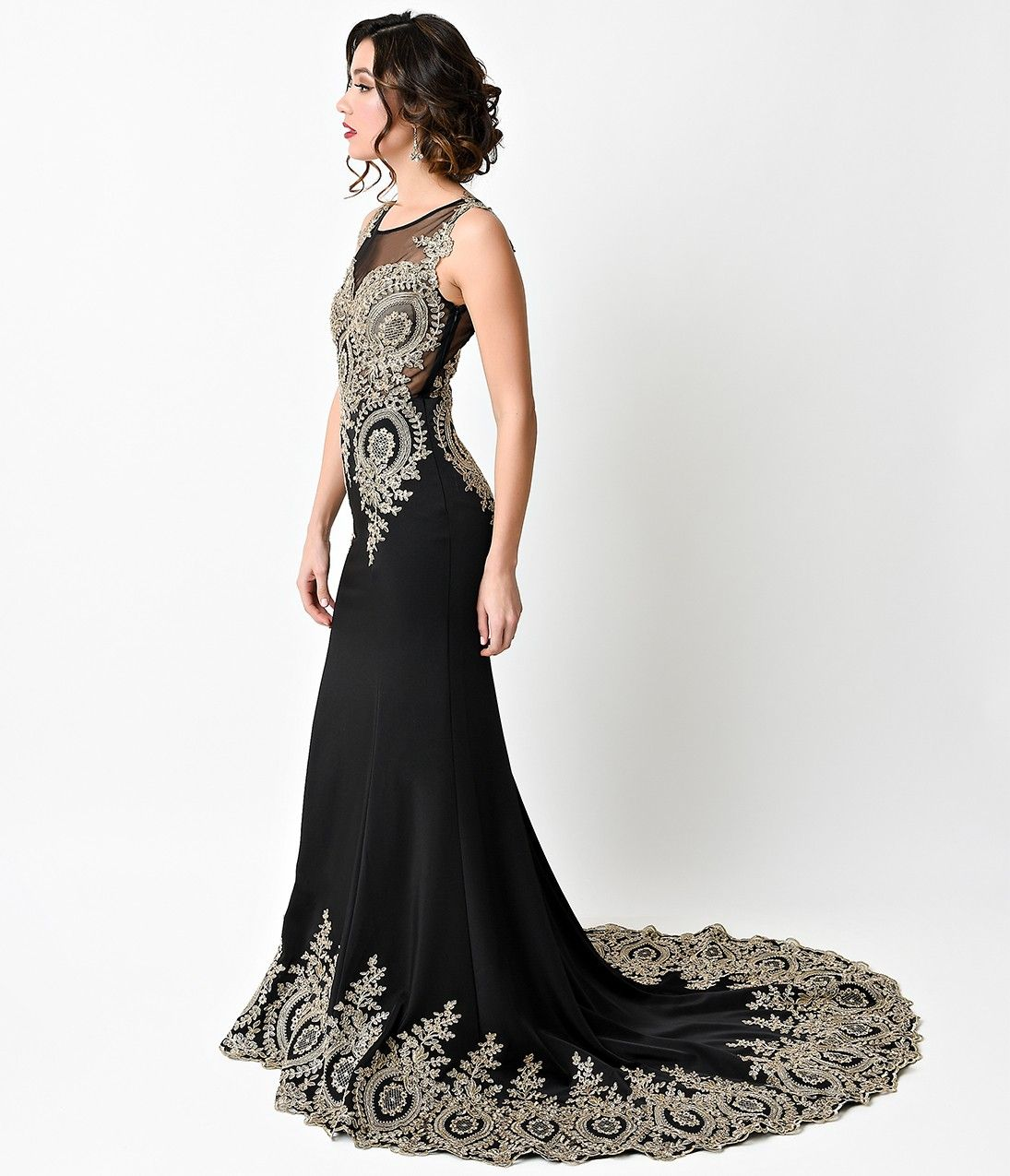 S style black u gold filigree bias cut satin gown clothes