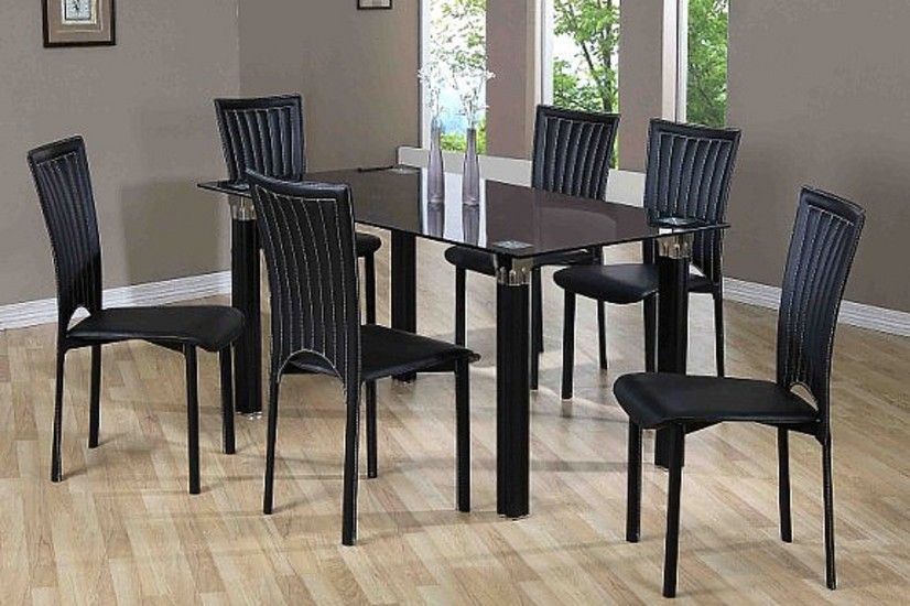 Zambia Black Glass Dining Table With 6 Chairs Black Glass Dining
