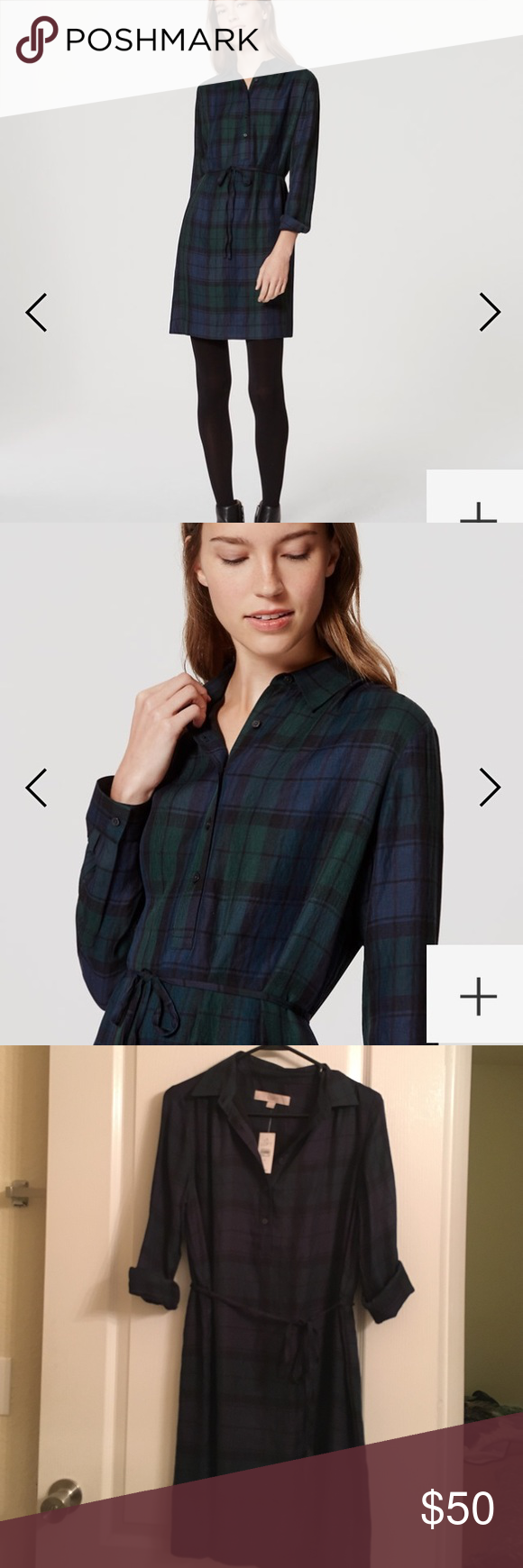 Loft plaid shirtdress size small sleeves can also be worn long nwt