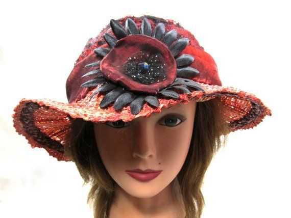 This red summer womens brim hat with large reassembled flower will fit a  small size head ab83cff3d5ed