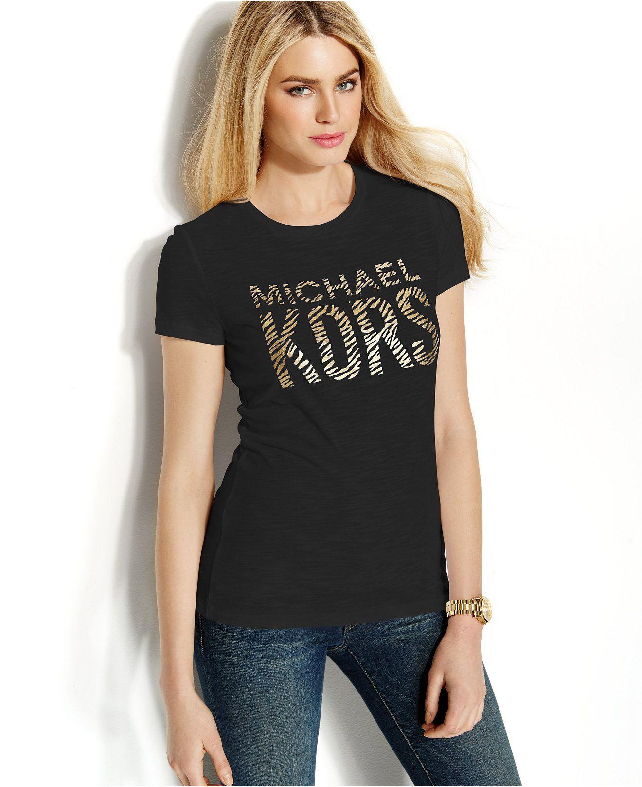 11ddecfb742 MICHAEL Michael Kors Metallic Animal-Print Logo Tee - Tops - Women - Macy's