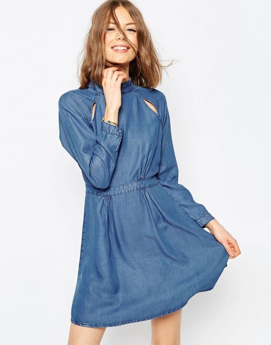 ASOS   ASOS Denim Dress With Pie Crust Collar and Cutout in Mid Wash Blue  at ASOS fe9f05a6c71c