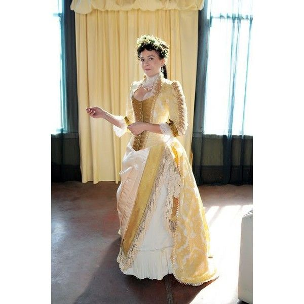 Victorian Dress 1870s-1900 via Polyvore featuring dresses, lacy dress, brown lace dress, brown dress, pinstripe dress and lace dress