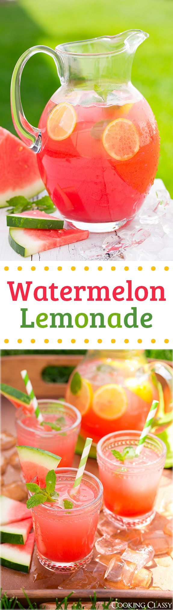 Watermelon Lemonade - my new favorite summer drink and the perfect use for those big watermelons! It is incredibly refreshing! #refreshingsummerdrinks