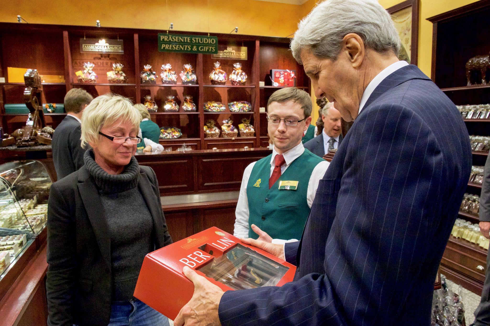 Secretary Kerry Looks At A Chocolate Replicate Of The Brandenburg