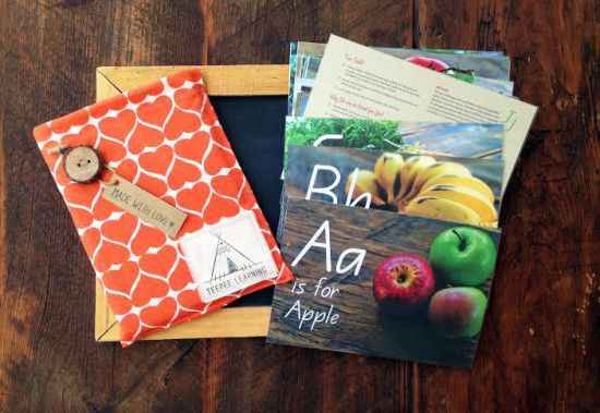 Real, green flashcards for kids - photos of healthy food featuring