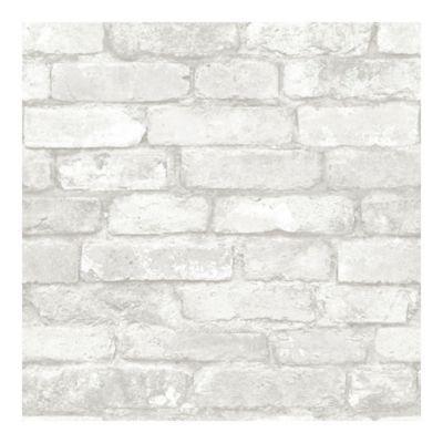 Nuwallpaper Brick Peel And Stick Wallpaper In Grey Bed Bath Beyond Brick Effect Wallpaper Removable Brick Wallpaper White Brick