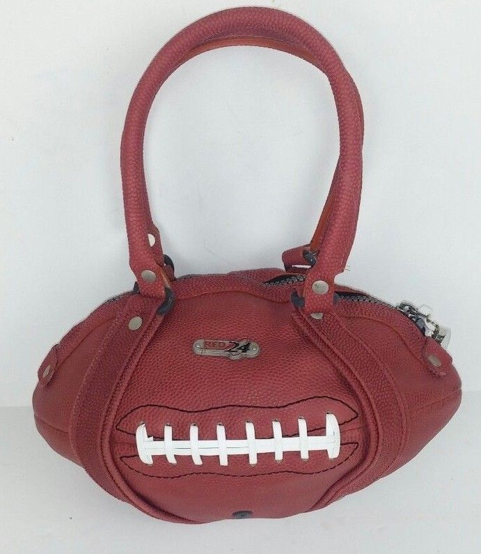 Red 24 Purse Handbag Football Shaped Texture Brown Lace Whistle Sports Red24 Satchel