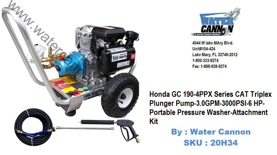 Honda GC190 4PPX CAT Triplex Plunger Pump 3GPM 3000PSI Pressure Washer