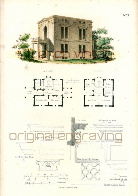 1854 villa romaine plans d 39 architecte format a3 gravure. Black Bedroom Furniture Sets. Home Design Ideas