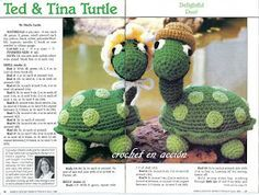 Ted&Tina Turtle Amigurumi Free Pattern (Enlarge picture to Read)