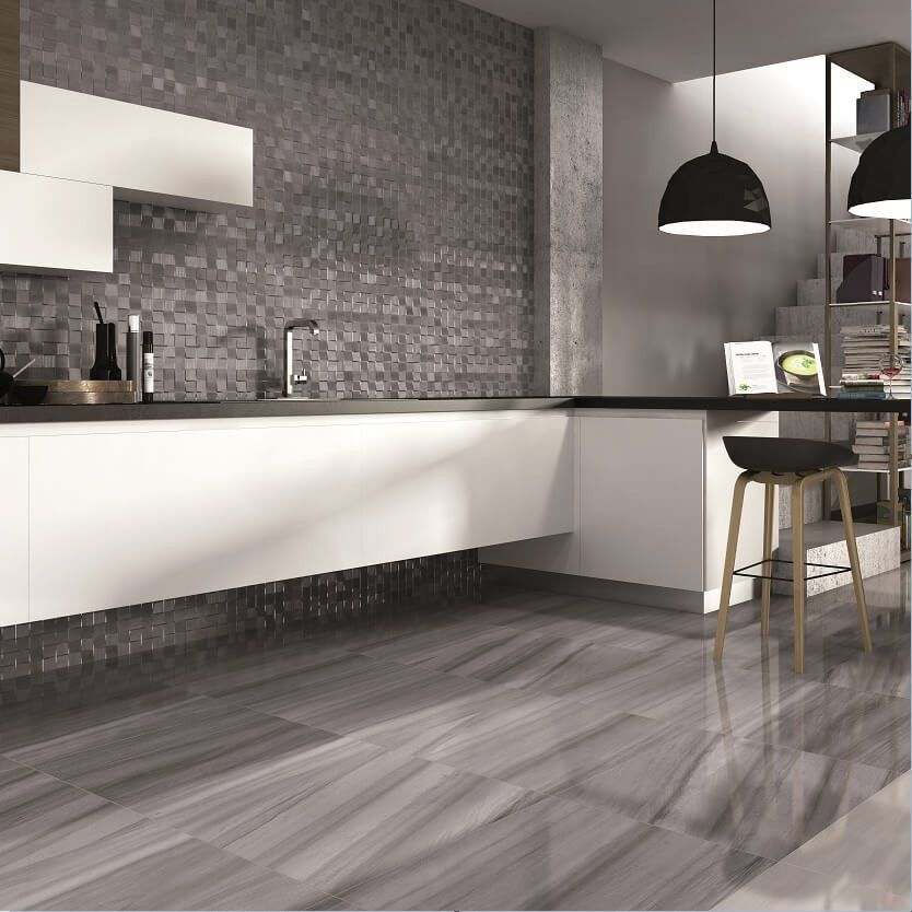 Century Marble Effect Floor Tiles In Modern Kitchen Modern Kitchen Flooring Modern Kitchen Tiles Modern Kitchen Tile Floor