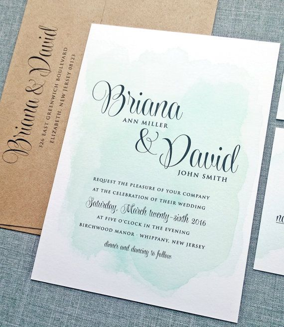 Briana Green Watercolor Wedding Invitation Sample