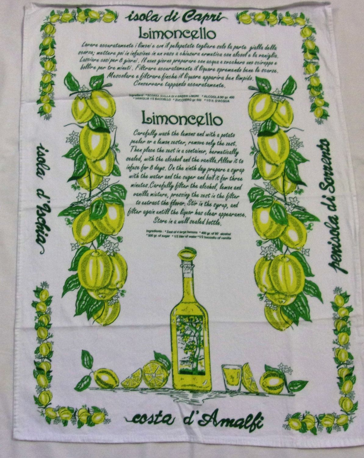 Limoncello Recipe Italy Souvenir Cotton Towel Italian Costa D Amalfi Mixed Drink Recipe Limoncello Mixed Drinks Recipes Limoncello Recipe
