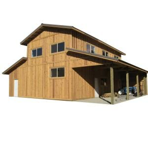 44 Ft X 40 Ft X 18 Ft Wood Garage Kit Without Floor Project 10 0813 The Home Depot Wood Garage Kits Pole Barn Homes Barn House Plans