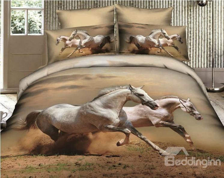 Newest Animal Print Bedding   Leopard Print Bedding and Horse Bedding  Online Sale. Running white Horses lifelike Print 4 Piece Bedding sets Comforter