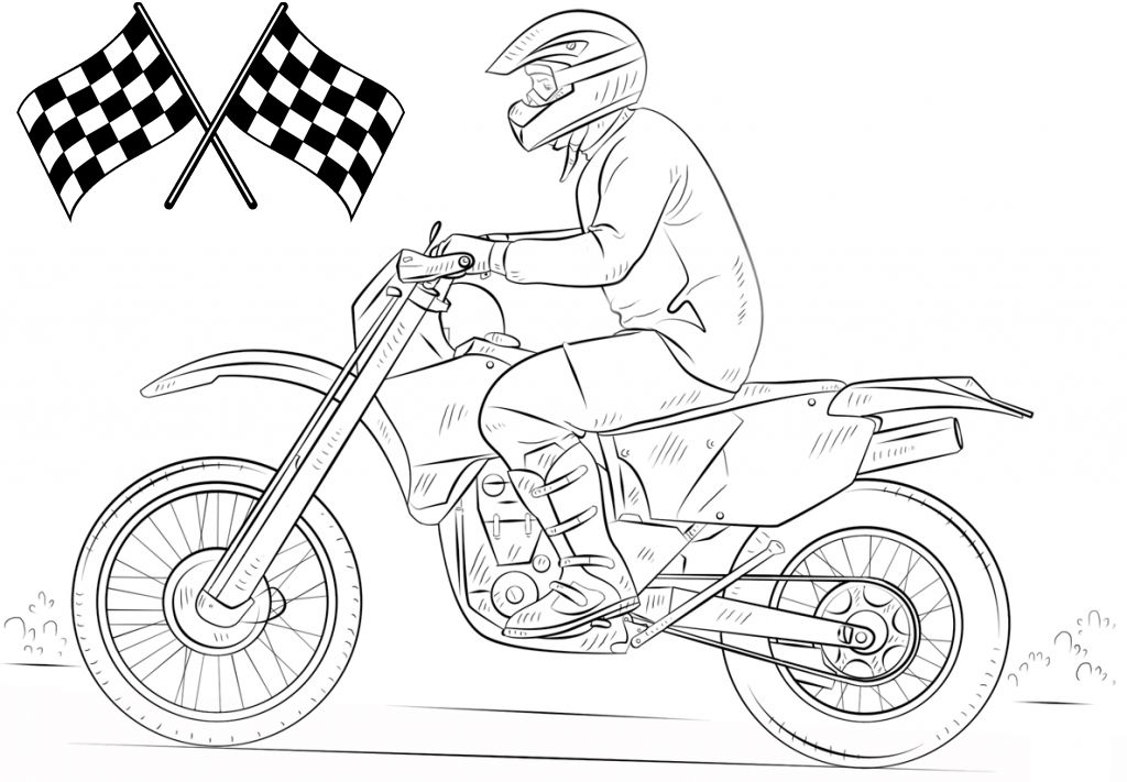 Best Dirt Bike Coloring Page For Kids And Adults Bike Drawing